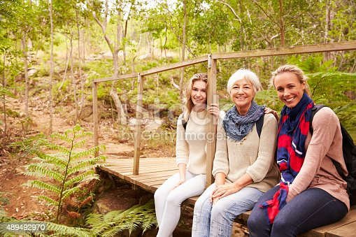 istock Three generations of women sitting in a forest, portrait 489492970