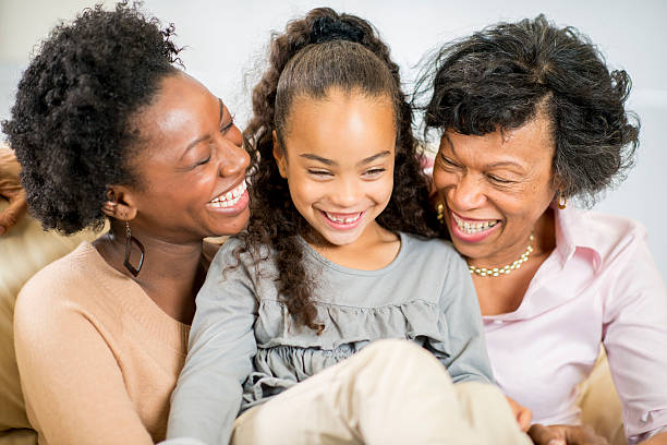 Three Generations of Women Together on Mother's Day stock photo