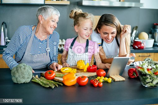 638984280 istock photo Three generations women cooking together 1207327925