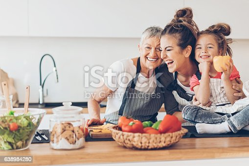 istock Three generations women laughing in the kitchen 638984280
