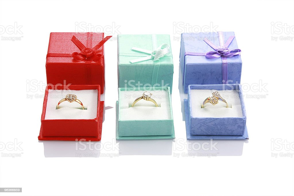 Three gift ring boxes isolated on white royalty-free stock photo