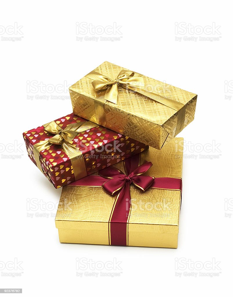 Three giftboxes isolated on the white background royalty-free stock photo