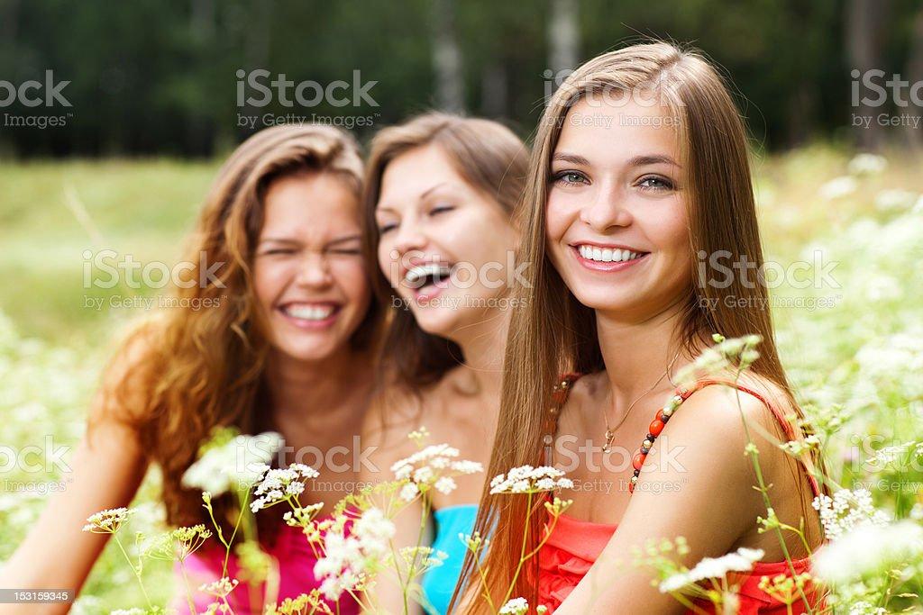 three girlfriends stock photo
