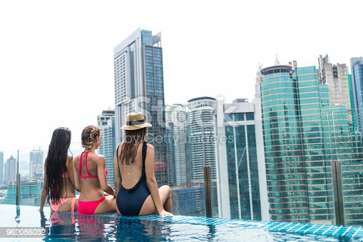 istock Three girlfriends sitting on poolside and looking at view 962086032