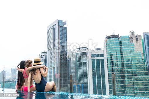 istock Three girlfriends sitting on poolside, embracing 962086028