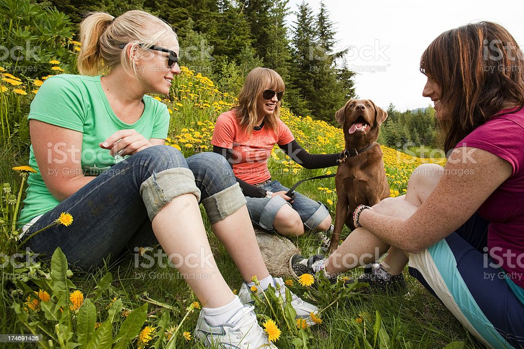 Three girlfriends with dog. royalty-free stock photo