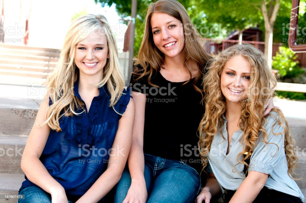Three Girls at School royalty-free stock photo