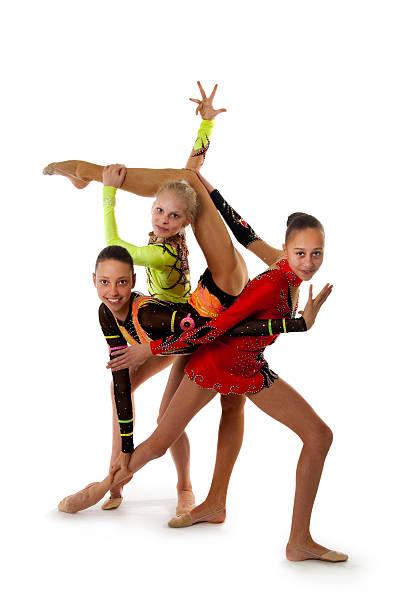 Flexible little girl doing gymnastics vertical split