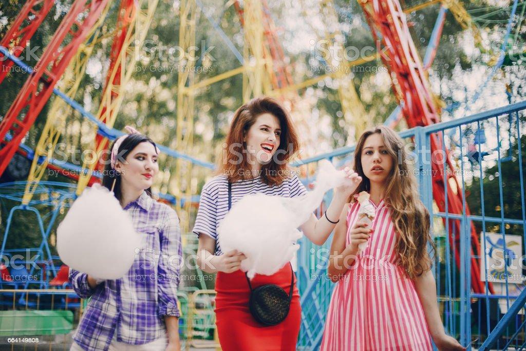 Three girls on a walk foto stock royalty-free
