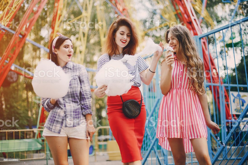 Three girls on a walk royalty-free stock photo
