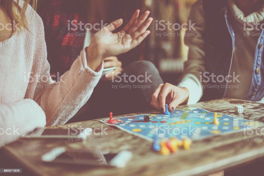 Three girls playing game man do not angry. Close up. stock photo