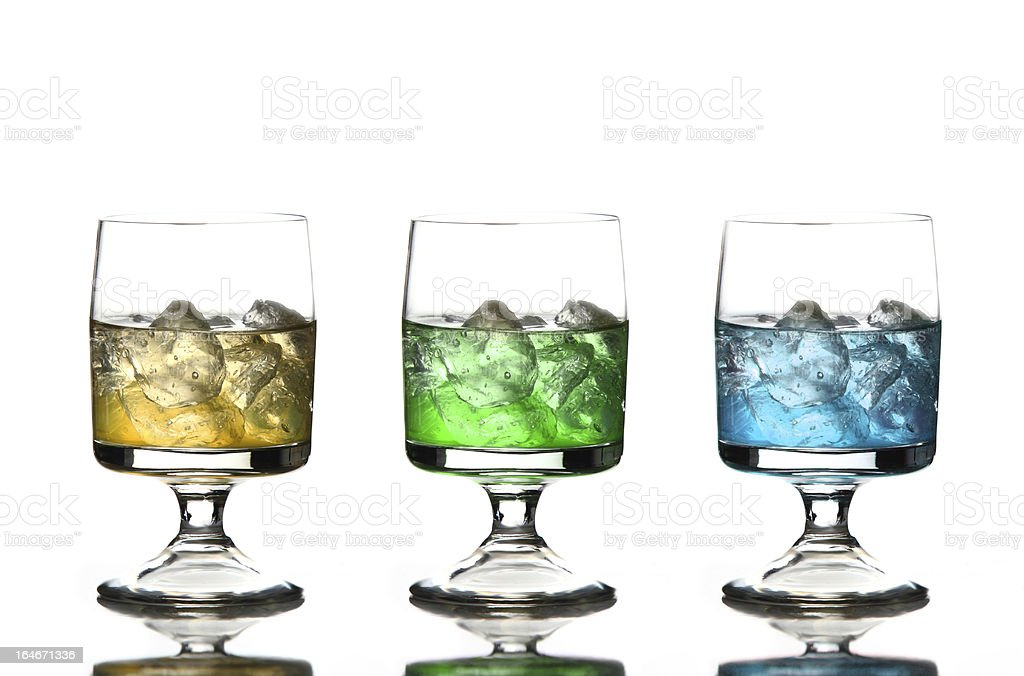 Three glases of coloured alcohol royalty-free stock photo