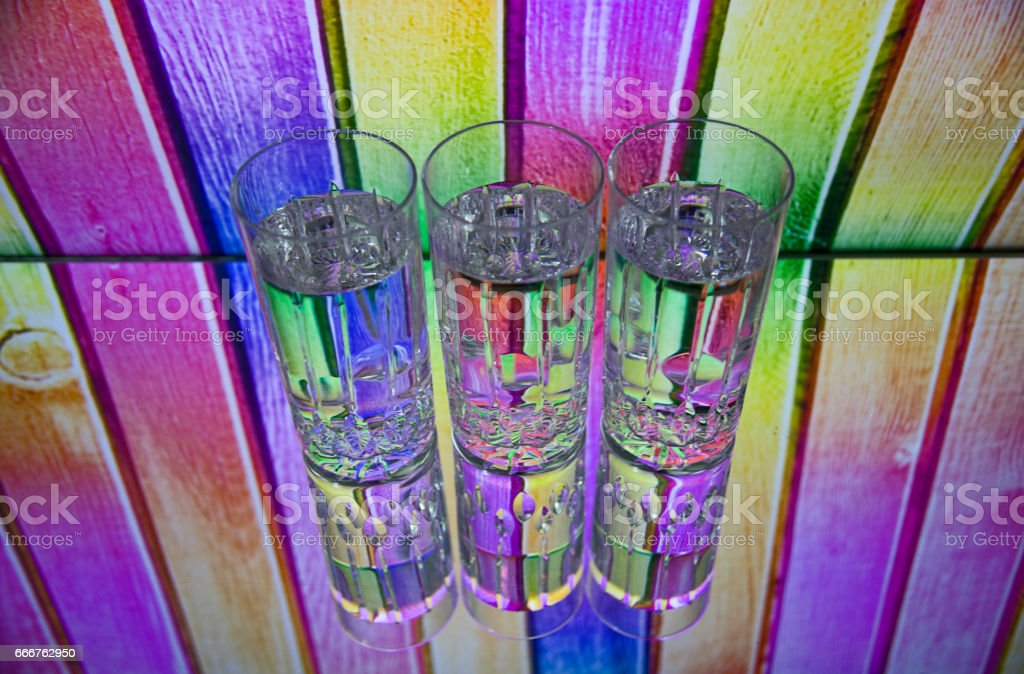 Three glass glasses foto stock royalty-free