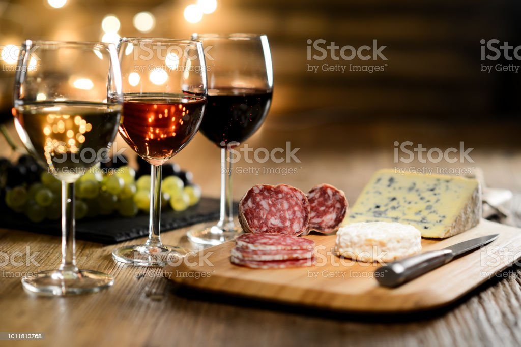 Three Glass Of Red Wine Rose Wine And White Wine With French