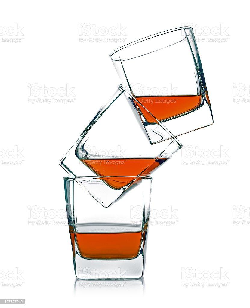 three glass of whiskey royalty-free stock photo