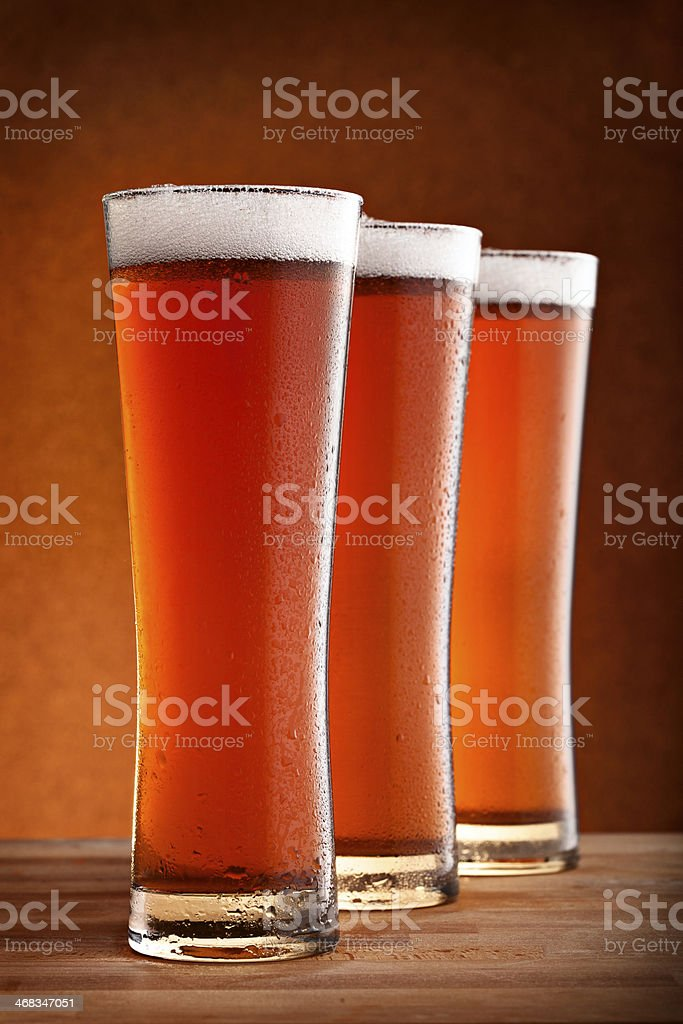 three glasses of beer royalty-free stock photo