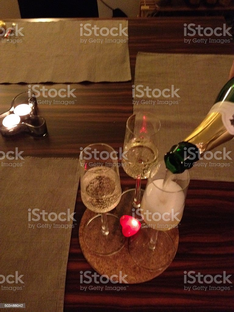 Three glasses of champagne stock photo