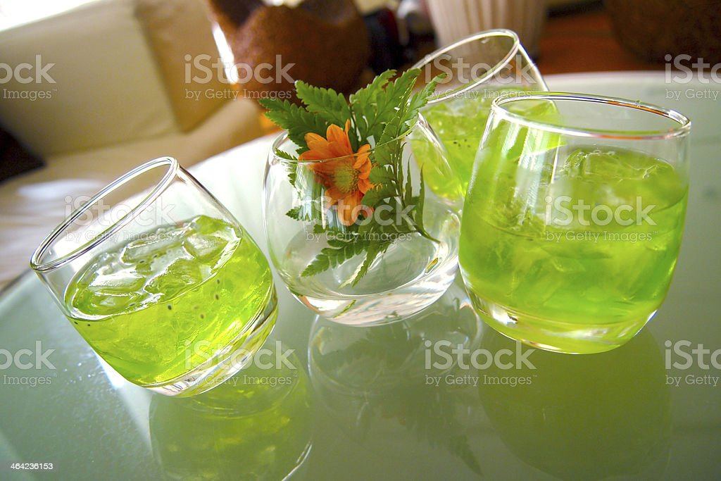 Three Glasses of Thai Fresh Drink royalty-free stock photo