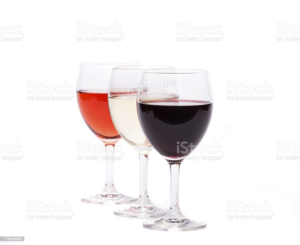 three glasses of wine royalty-free stock photo