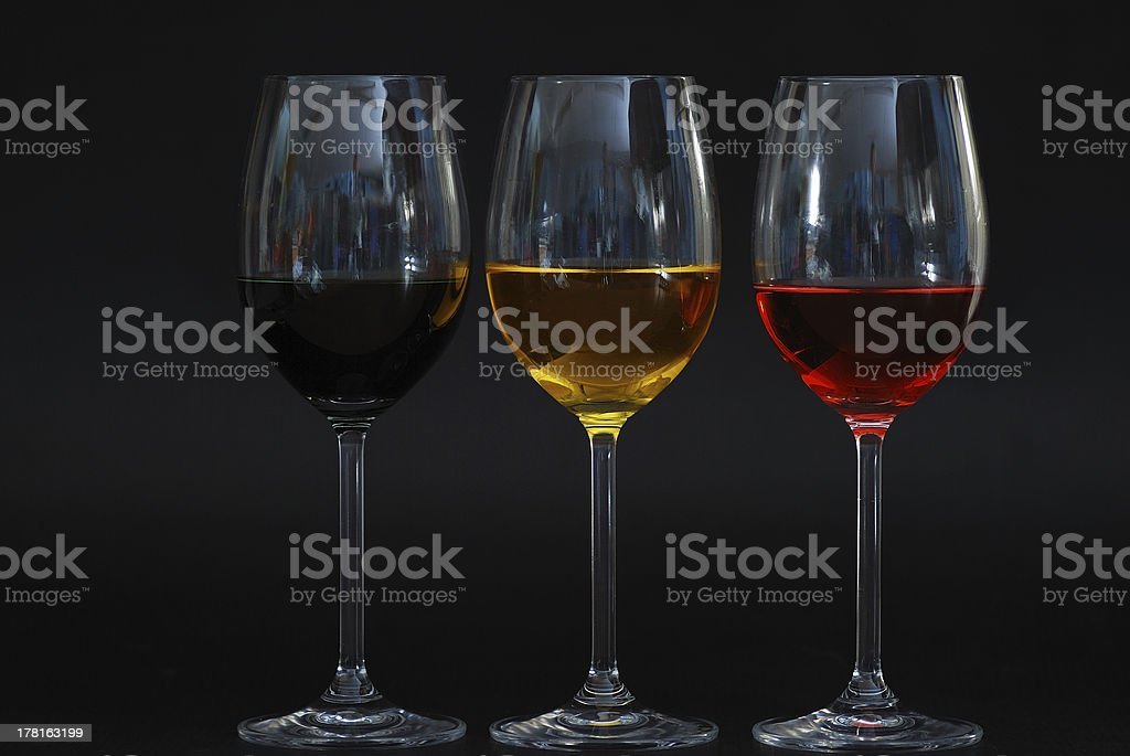 three glasses with black background royalty-free stock photo