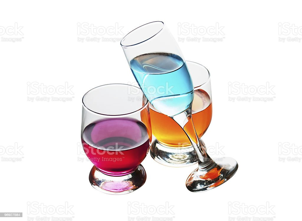 three glasses with drinks royalty-free stock photo
