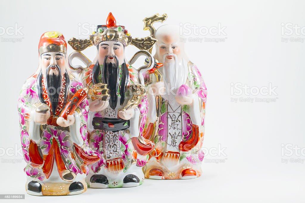 three gods of Chinese stock photo