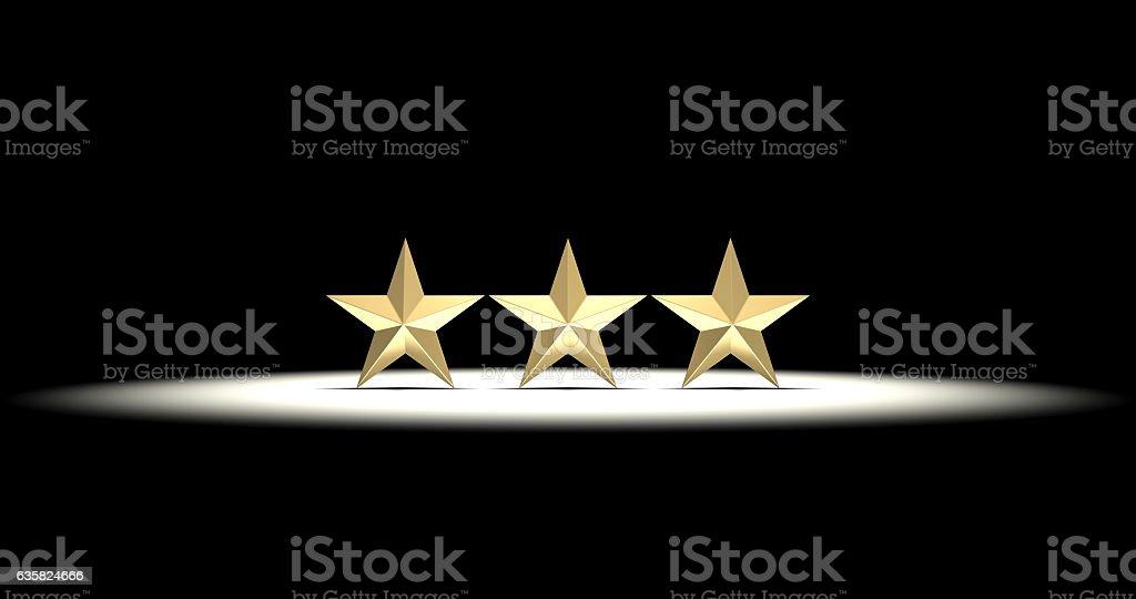 Three Gold Stars stock photo