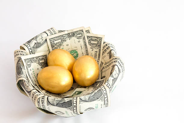 Three golden eggs in a nest made from dollars Image of three golden eggs sitting in a nest made of dollar bills.  The nest is set against a white background.   The eggs represent three separate investments, or nest eggs, of equal size. nest egg stock pictures, royalty-free photos & images