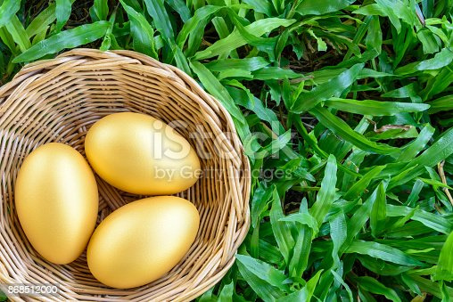 Three golden eggs in a rattan basket on green grass. Can be used as metaphors for investors who manage assets for long term sustainable growth like a goose lays golden eggs for them every day forever.