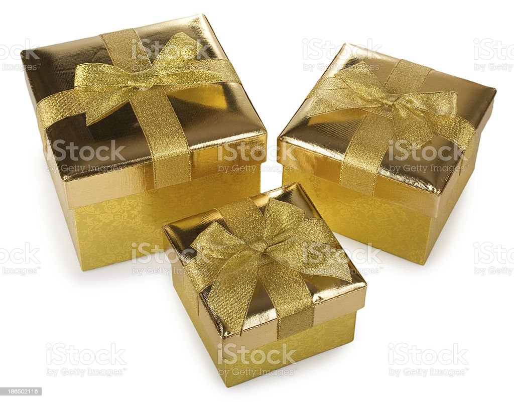 Three golden gift boxes royalty-free stock photo