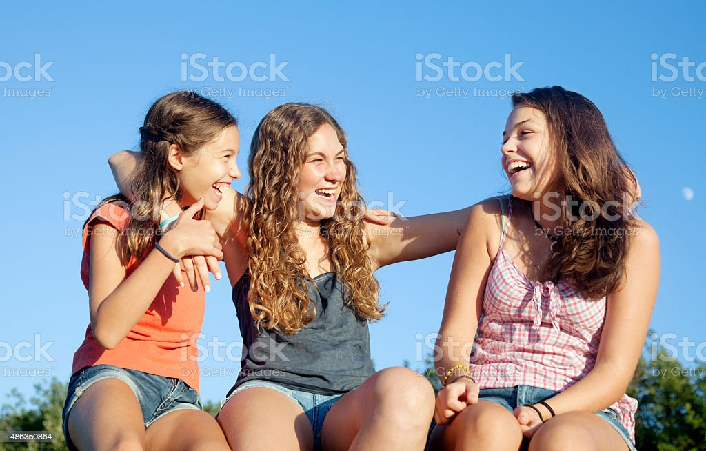 Three good friends stock photo