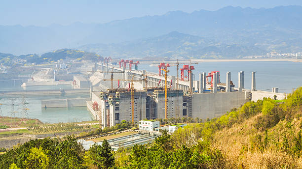 Three Gorges Dam on a Misty Day - China stock photo