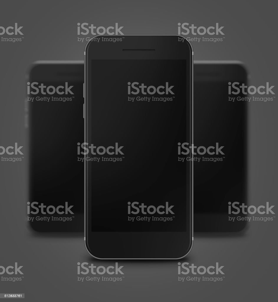 Three Gray and Black Touchscreen Smart Phone With Blank Screen stock photo