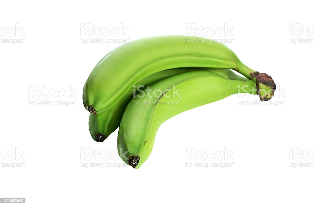 three green bananas isolated on the white background. no shade stock photo