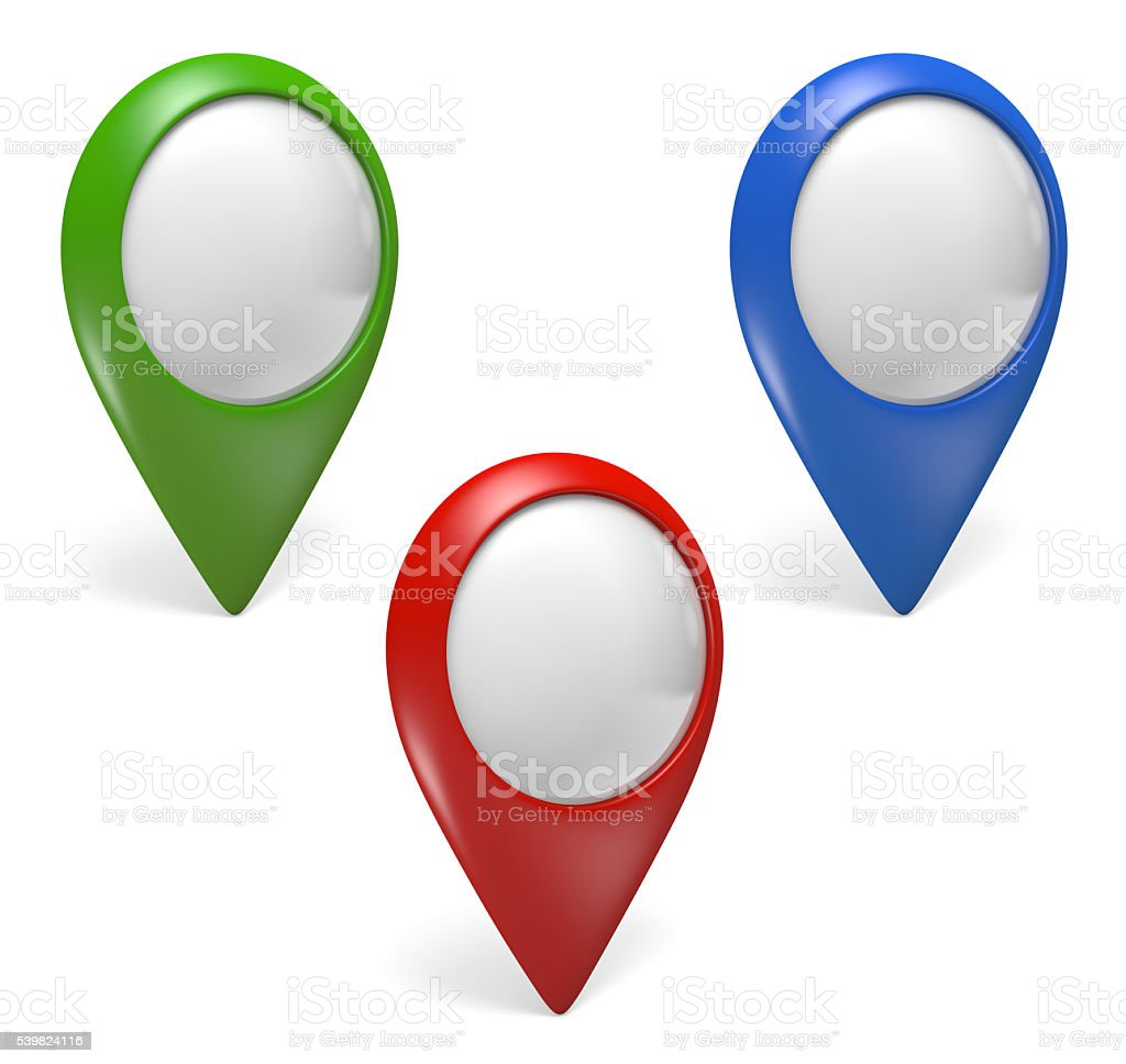 Three green, blue, and red pointer icons for digital maps stock photo
