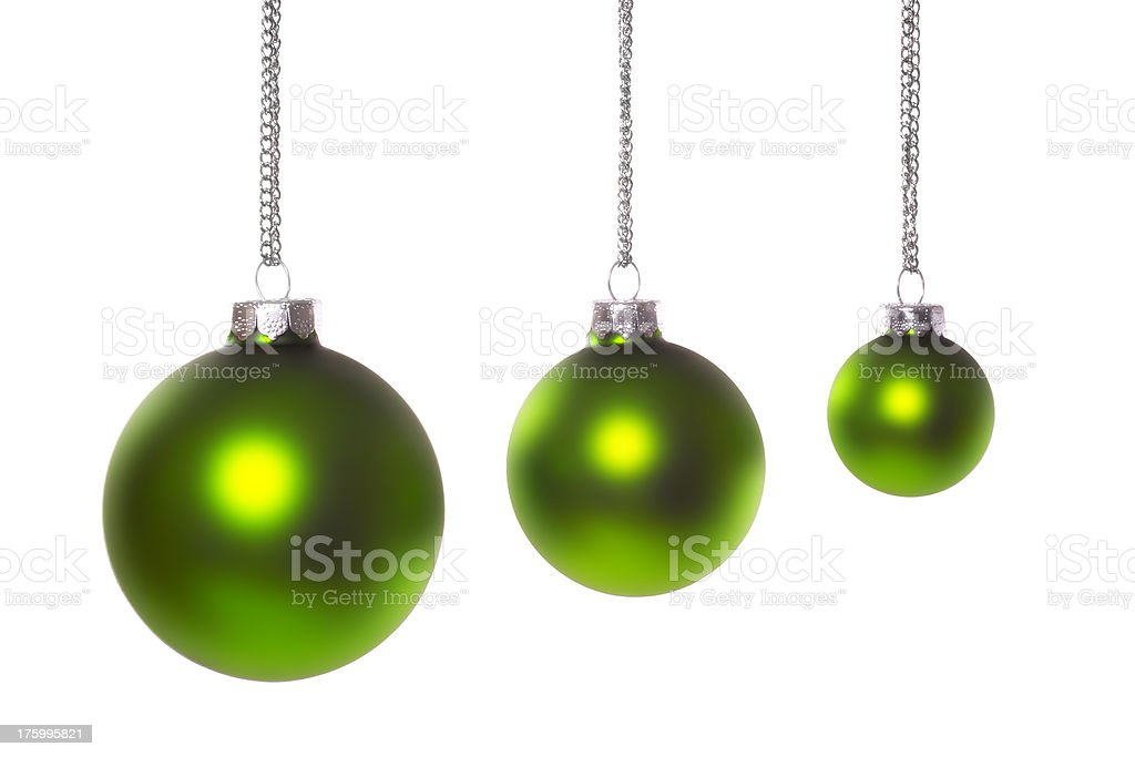 Three Green Christmas Ball Ornaments royalty-free stock photo