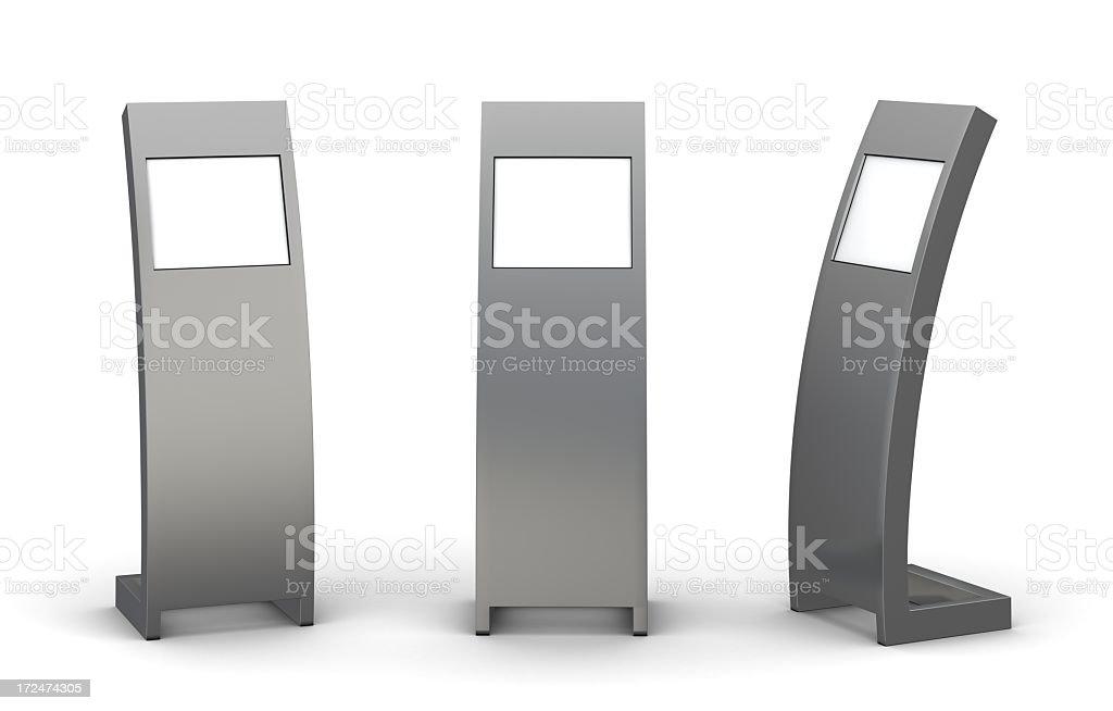 Three grey information centers stock photo