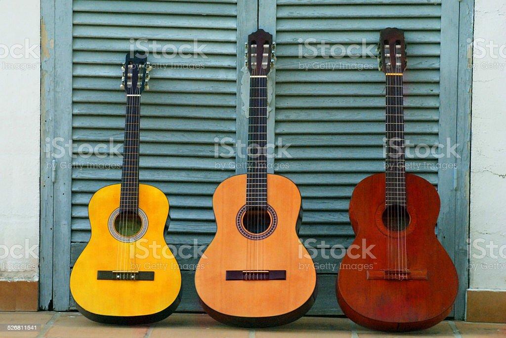 Three Guitars stock photo