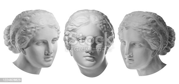 istock Three gypsum copy of ancient statue Venus head isolated on white background. Plaster sculpture woman face. 1224828825