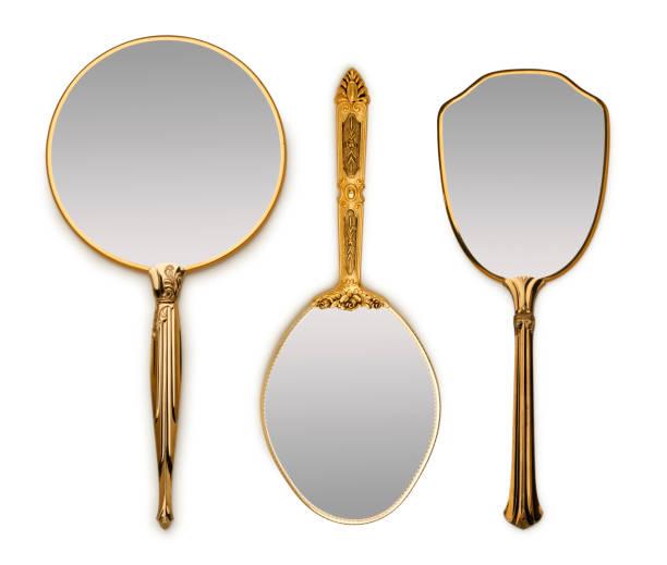 three hand mirrors - handspiegel stockfoto's en -beelden