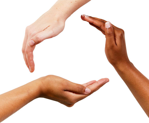 Three hands gently encircle a space on white background Three mixed hands gently encircle space for your product or copy on a white background. hands cupped stock pictures, royalty-free photos & images