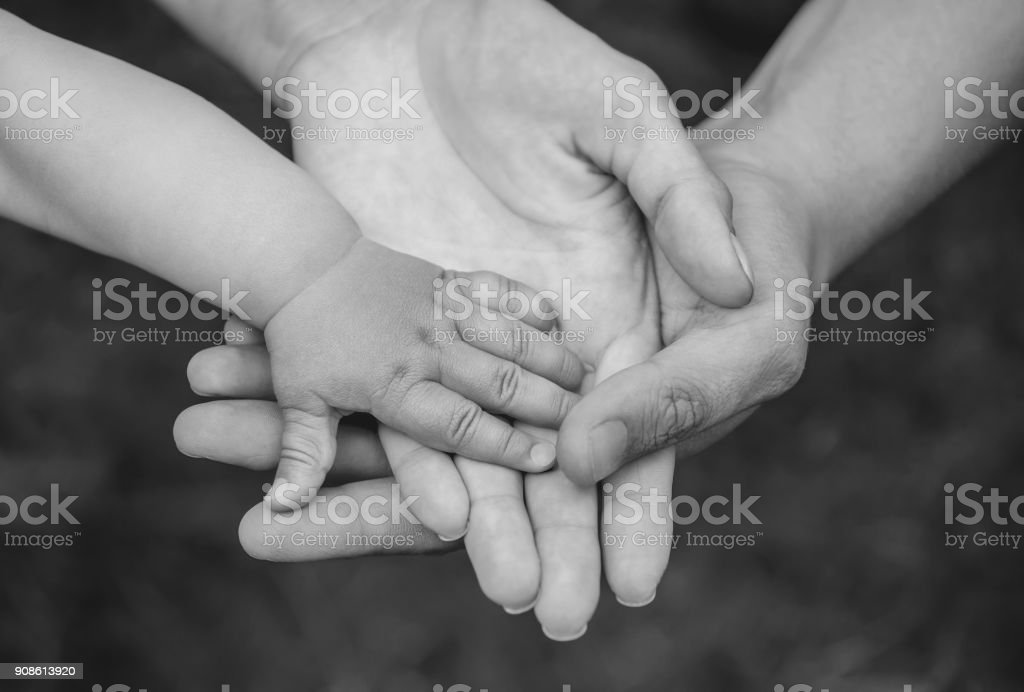 Three hands of the same family - father mother and baby stay together. Close-up. stock photo