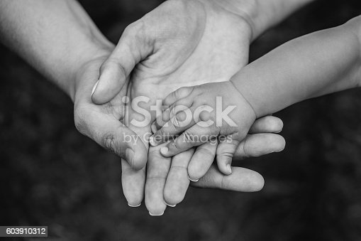 istock Three hands of the same family. 603910312