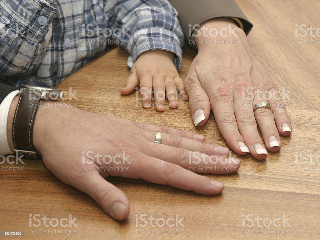 three hands royalty-free stock photo