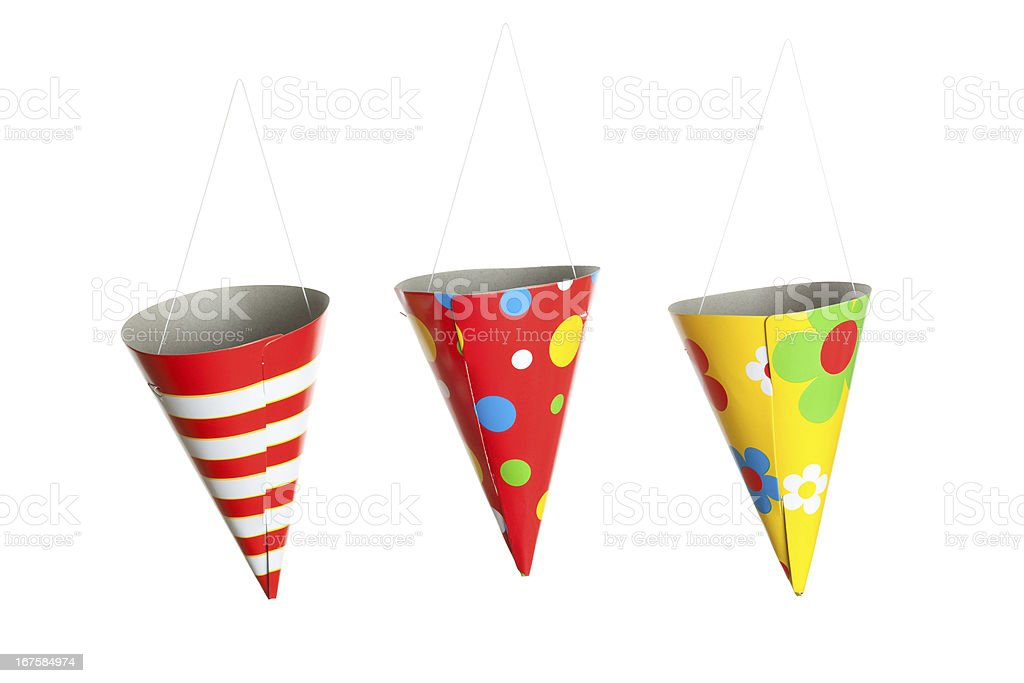 Three Hanging Party Hats royalty-free stock photo