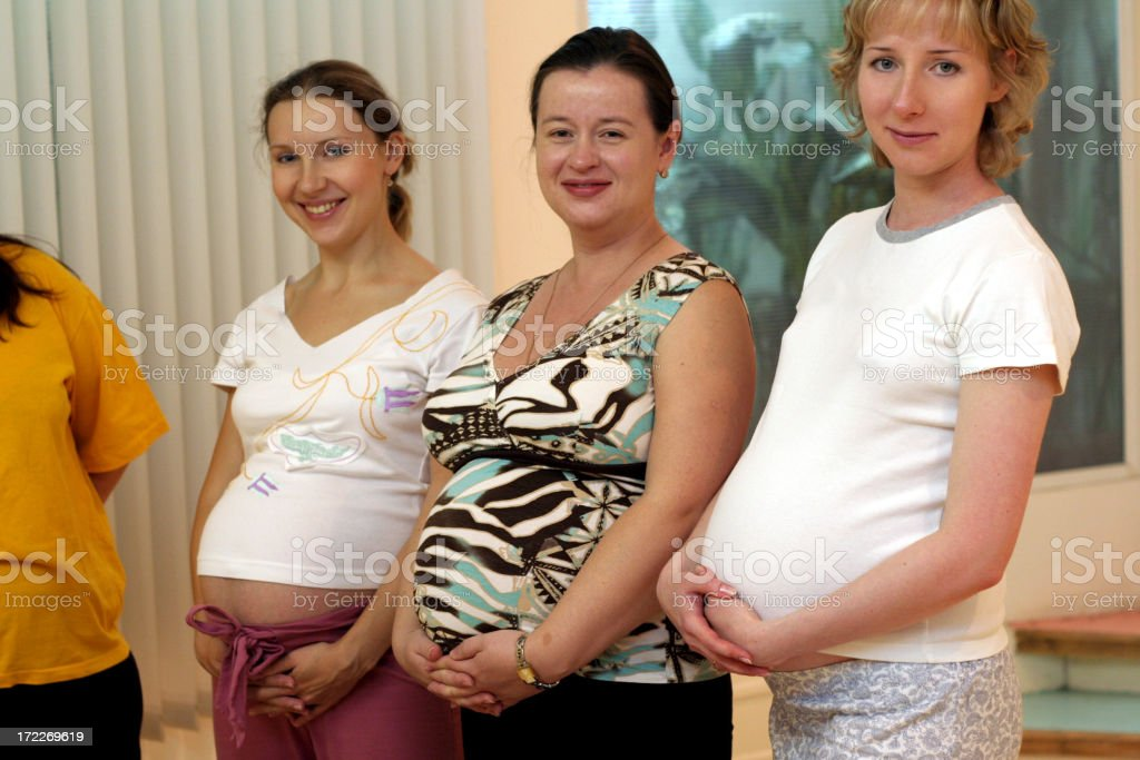 Three happy expectant mother royalty-free stock photo
