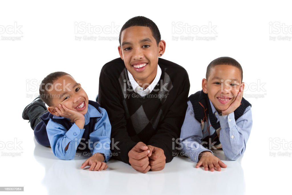Three Happy Multiracial Brothers stock photo