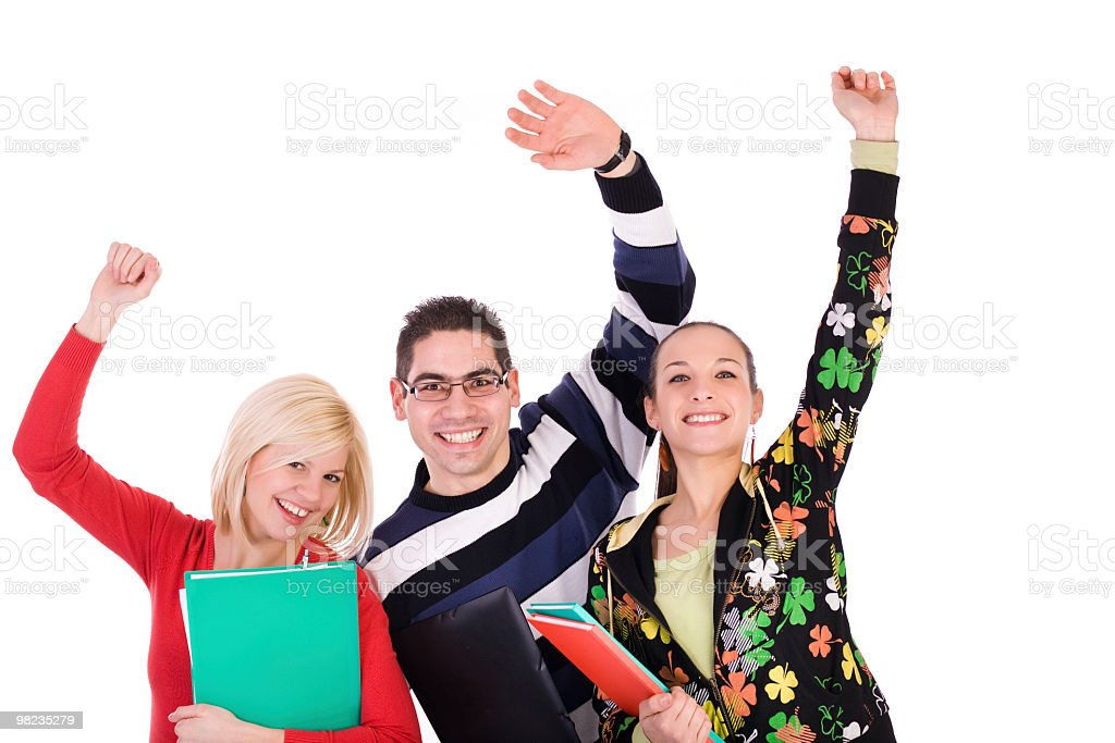 Three happy smiling students royalty-free stock photo