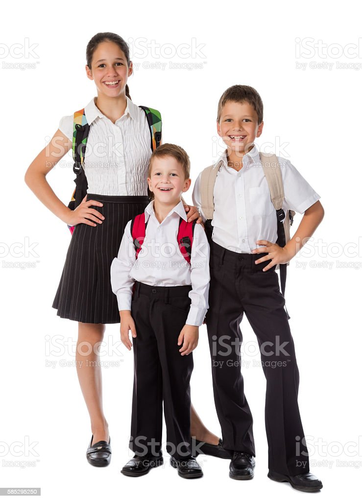 Three happy students standing together stock photo