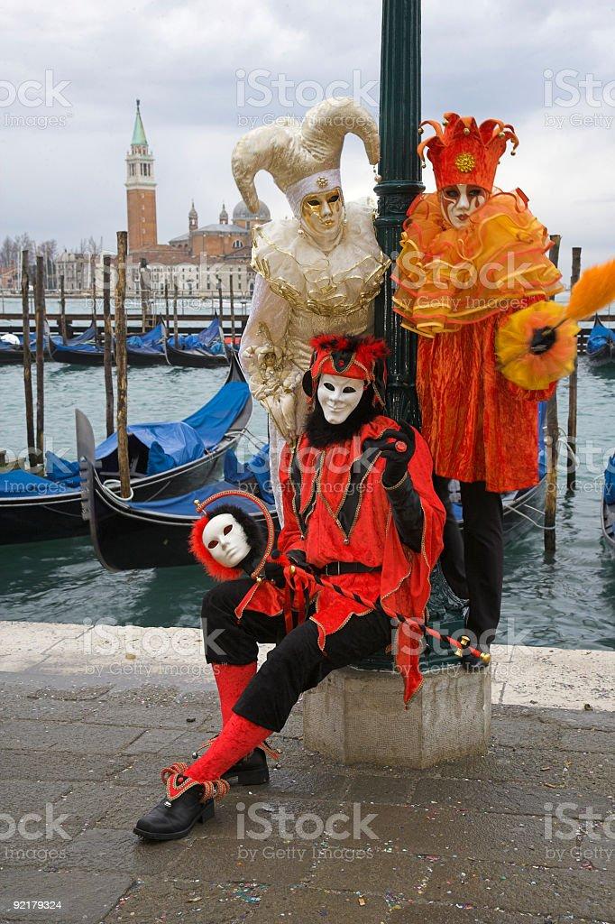 Three harlequin masks at carnival in Venice (XXL) royalty-free stock photo